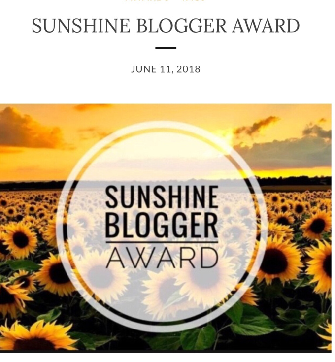 Nominated for Sunshine BloggerAward(3rd)