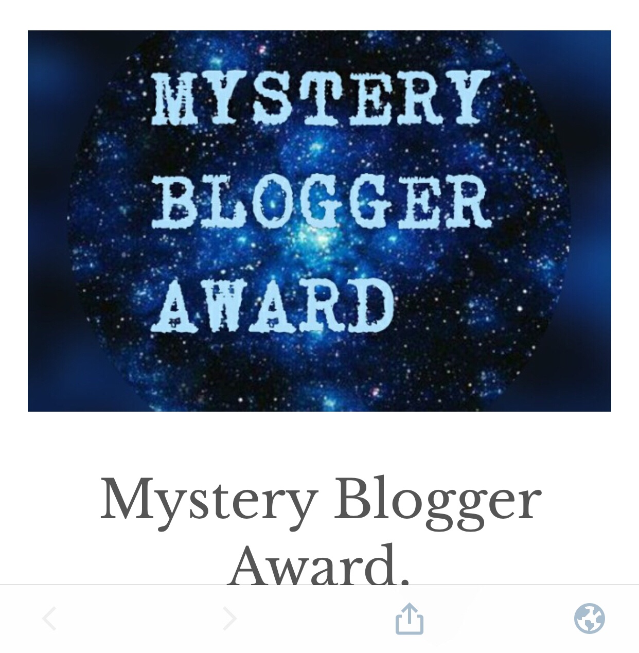 Nominated for Mystery Blogger Award(6th)