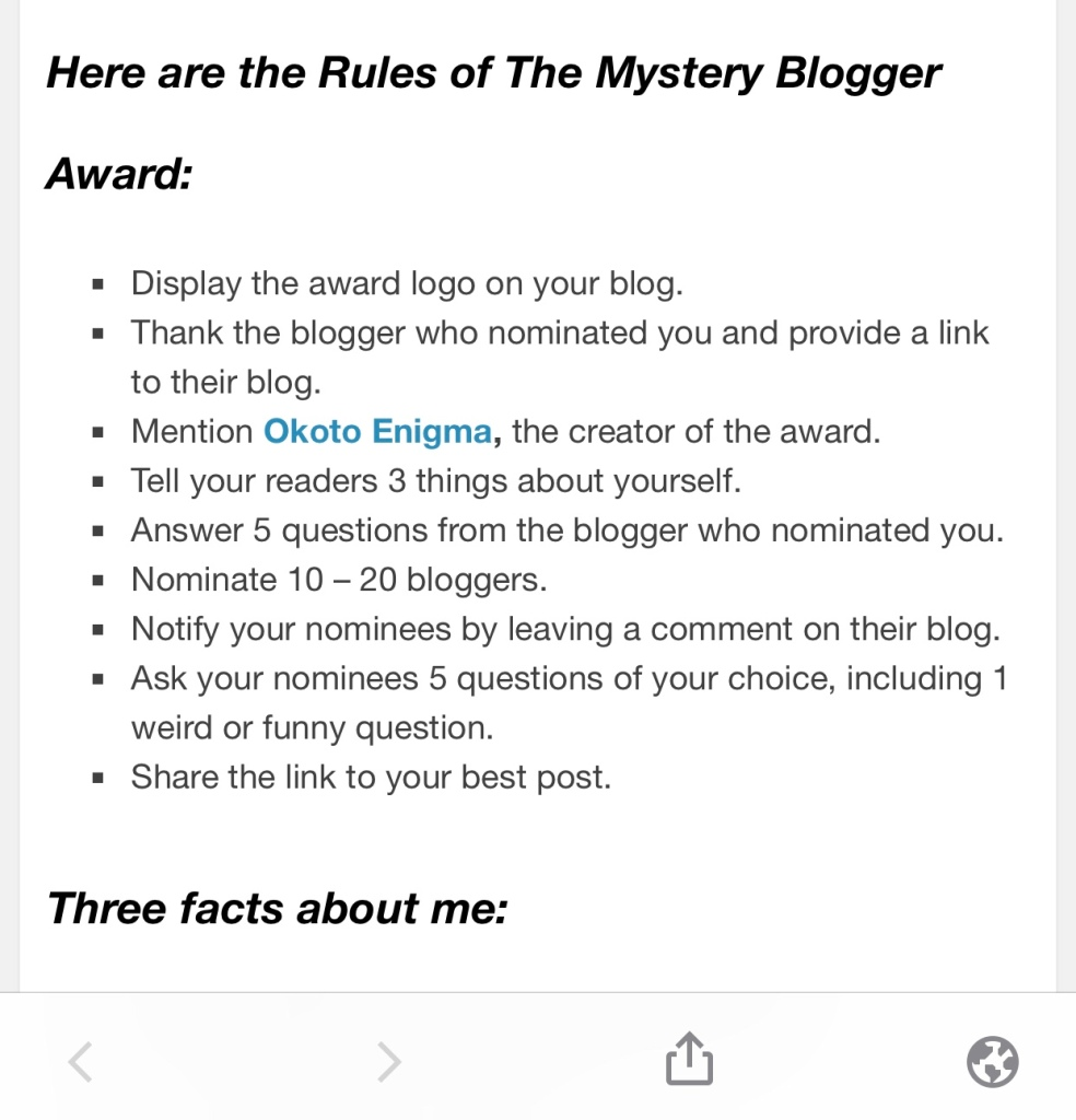 Mystery Blogger Award rules